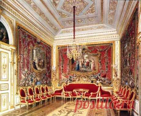 The Gatchina Palace, Russia. The Crimson Drawing Room. Designed V. Brenna (1790s). Water-colour by L. Premazzi, 1872. THE CRIMSON DRAWING ROOM... | Pinterest • el catálogo mundial de las ideas