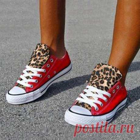 Women Colorblock Leopard Printing Breathable Casual Canvas Shoes - US$35.99