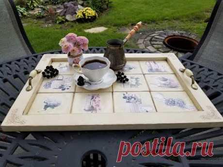Поднос из подрамника. Имитация керамической плитки. DIY tray. Imitation of ceramic tiles.