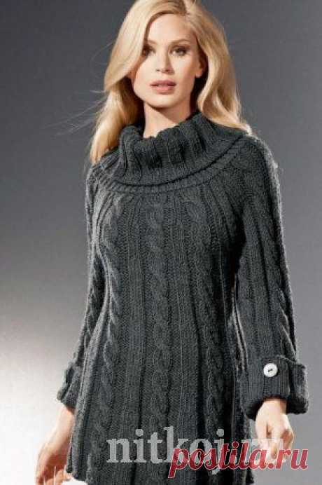 Туника спицами с косами » Ниткой - вязаные вещи для вашего дома, вязание крючком, вязание спицами, схемы вязания