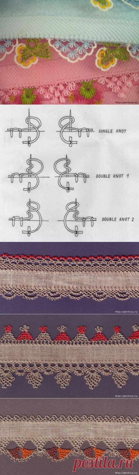 Как обшивать кромку игольным кружевом Оя
