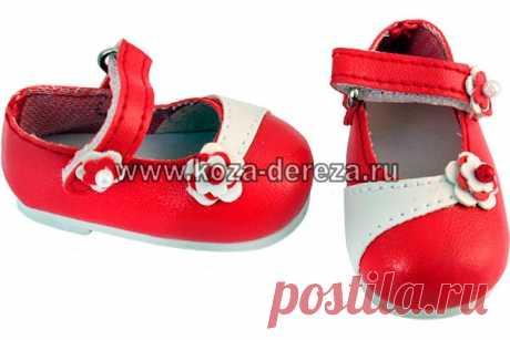 Туфли красные с ремешком и цветочками, для куклы 32 см (Арт.64559) — купить в интернет-магазине «Коза Дереза, Екатеринбург»