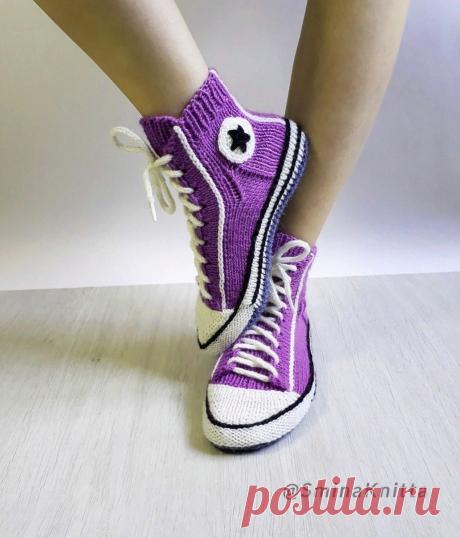 Интересные носки спицами и крючком. Подборка