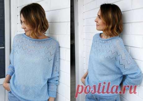 Цвет ясного неба: светло-синие пуловеры и джемперы спицами   Paradosik_Handmade   Яндекс Дзен