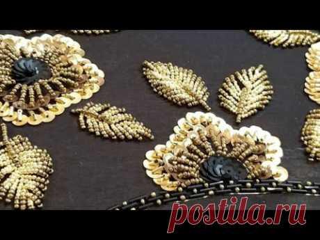 Композиция из бисера и пайеток, вышивка люневильским крючком. Вышивка на одежду, дизайн вышивки.