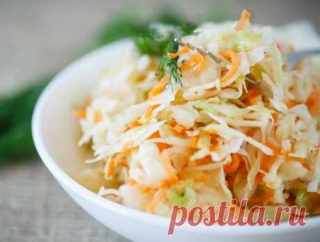 La ensalada «la Col con la zanahoria y el vinagre» \/ las recetas Simples