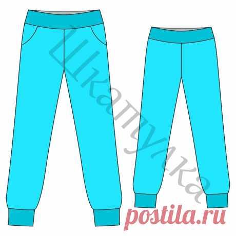 Выкройка женских спортивных брюк с манжетами WB130717 | Шкатулка