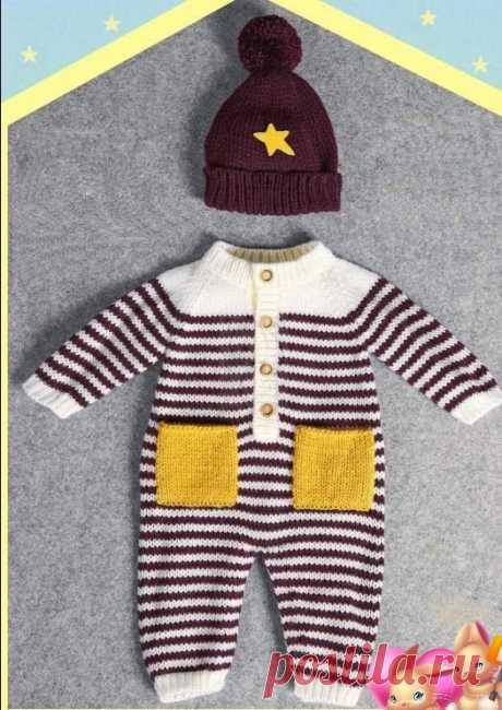Вяжем детям Комбинезон и шапочка для малыша от 0 до 2 лет