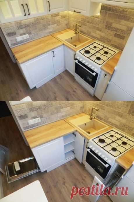 Белая кухня 6 кв м в хрущевке с холодильником и посудомойкой (9 фото)