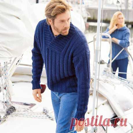 Мужской пуловер с шалевым воротником - схема вязания спицами с описанием на Verena.ru
