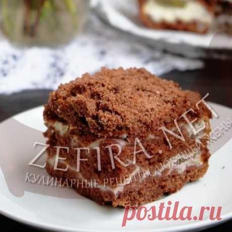 Насыпной шоколадный пирог с творогом — Кулинарные рецепты любящей жены
