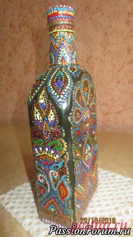 Бутылки с точечной росписью. | Мастер классы по декору