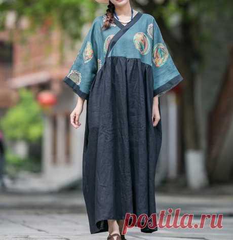 Women Loose Fitting V collar dress linen Summer dress | Etsy