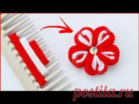 Простой цветок из пряжи с помощью расчёски