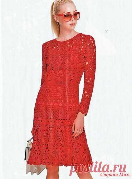 . Красный Кардинал. Платье крючком от Oscar de la Renta. - Все в ажуре... (вязание крючком) - Страна Мам