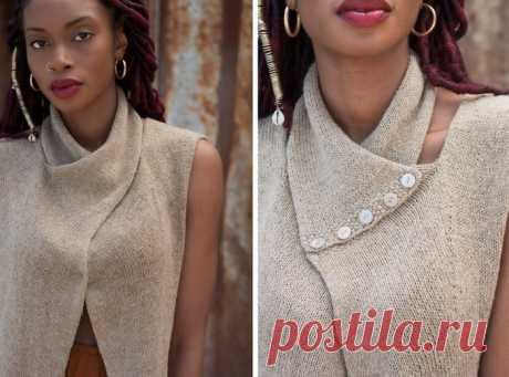 сообщение Сима_Пекер : Оригинальный жилет с декоративным шарфом вязаный спицами. (13:22 07-08-2019) [3798319/458809738] • ninanina345@ukr.net