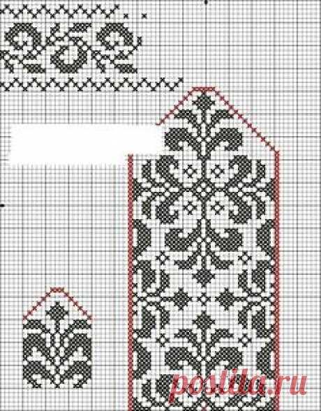 Схема узора и выкройка для вязания варежек спицами