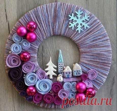 Рождественские веночки из фатина, снежинок и ниток: идеи — DIYIdeas