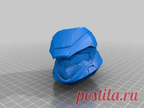 """Halo Scout Helmet by Jace1969 An old file from my Pepakura making days that I discovered in Pepakura Designer you can export to .OBJ and in """"Windows 10 3DBuilder or 123Design"""" export to .STL. Unfortunately I don't have the skills yet to improve further on the model, but maybe someone out there would like to tidy it up. Please upload it back as a remix if you do take the time to clean it up. Please note this was originally uploaded to the net as a free down load. So I cant ..."""
