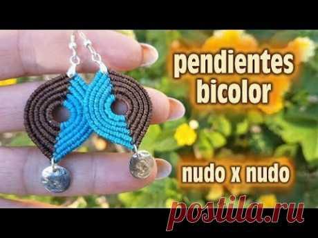 COMO HACER PENDIENTES BICOLOR FACIL Y RAPIDO