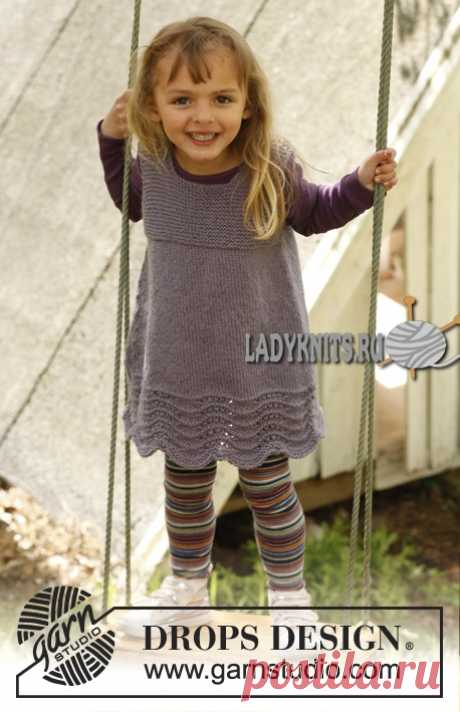 Теплое платье спицами для девочки от 3 до 12 лет