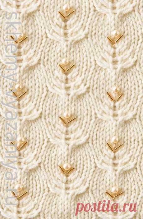 Растительный узор с бусинами и стеклярусом - схема вязания спицами с описанием
