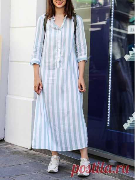 Women Vertical Stripes Half Button Cotton Lapel 3/4 Sleeve Loose Casual Maxi Dre - US$21.99