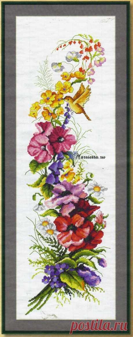 Летний букет цветов с птичкой. Схемы вышивки