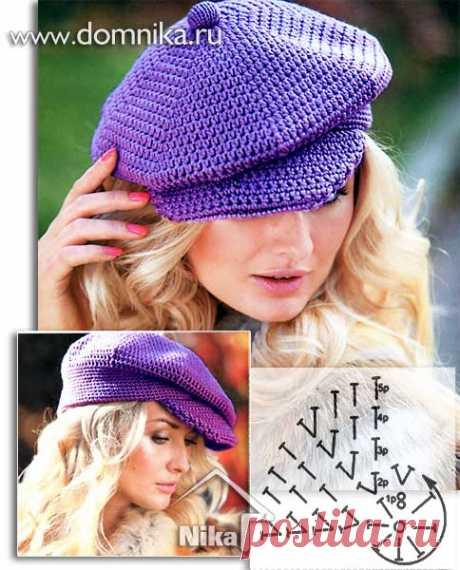 Женские вязаные шапки с козырьком - 14 моделей вязаных шапок