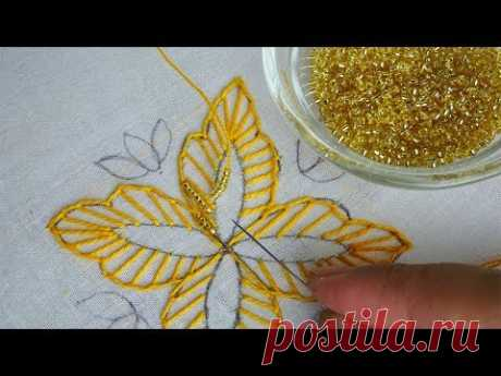 fantasy flower with beads hand embroidery| beaded embroidery design for dress