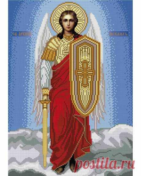 Схема для вышивки крестиком бисером иконы Архангел Михаил