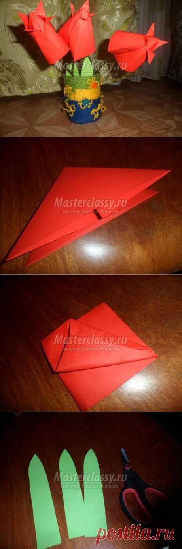 Оригами. Ваза с тюльпанами. Мастер-класс с пошаговыми фото