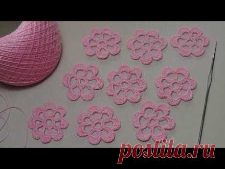 Knitting of a simple FLOWER - a knitting lesson for beginners - Lesson crochet flowers