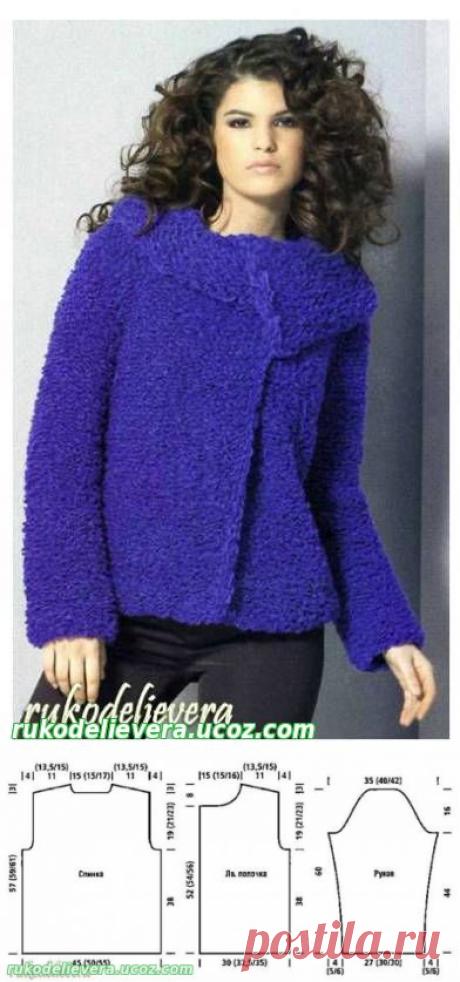 Синий женский жакет вязаный спицами из фасонной пряжи 0022 - Жакет - Вязаная мода для женщин - Каталог статей - Рукоделие Вера