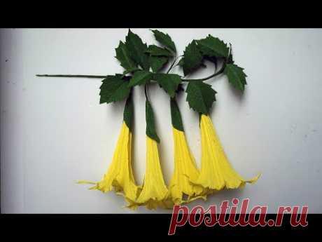Cómo hacer flores de papel crepe - Flor del Té de Campana | Angel's Trumpet Flowers - Brugmansia