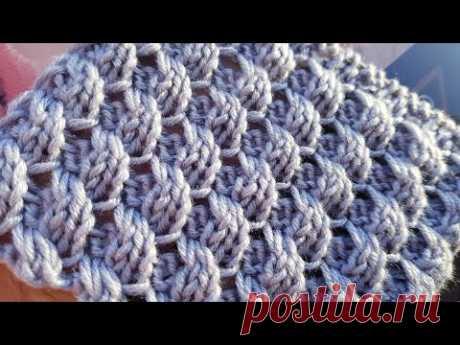 Классная фактура и вяжется просто. Узор спицами с эффектом вытянутых петель 🌹 knitting pattern.