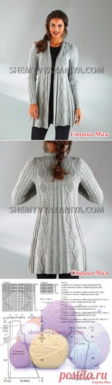 Пальто с узором ромбы из кос - Вязание - Страна Мам