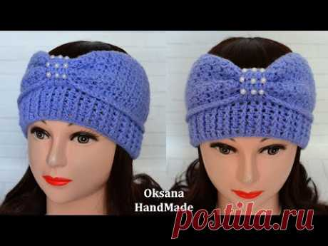 Весенняя повязка на голову крючком. Crochet headband