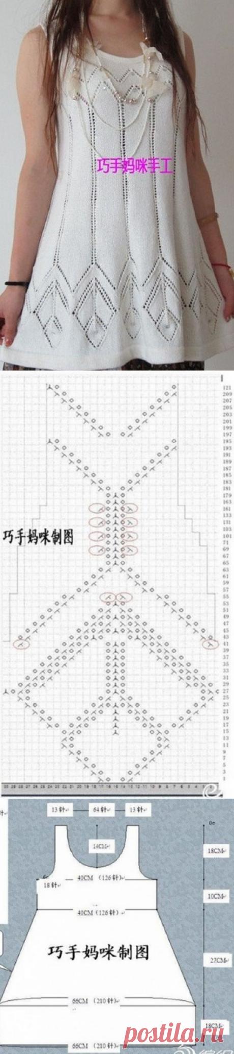Схема вязания туники спицами для женщин