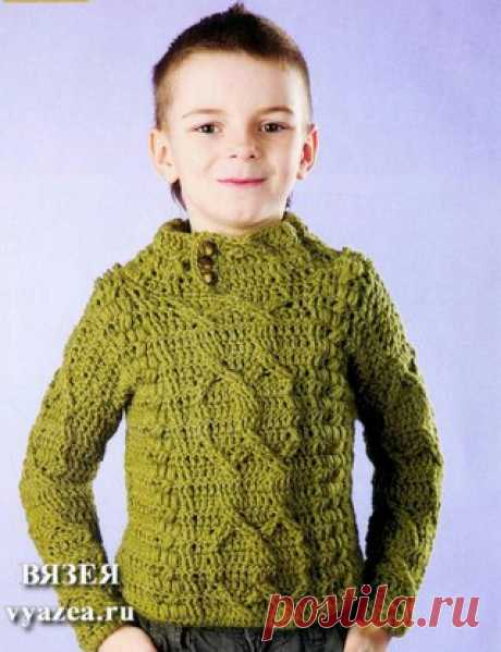 Пуловер с аранами для мальчика
