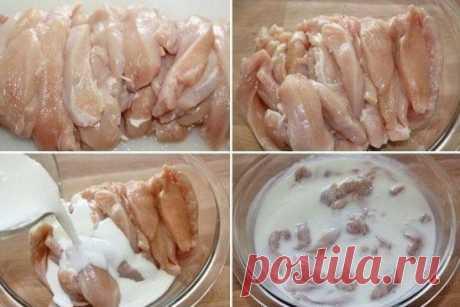 Тушеная куриная грудка в кефире