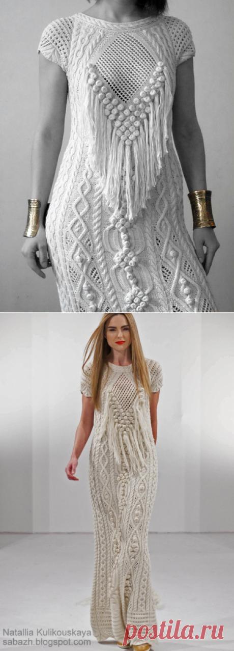 Длинное платье с аранами схемы. Дизайнерское вязаное платье спицами   Я Хозяйка