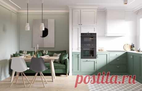 Проект недели: квартира в пастельных тонах с гостиной на кухне Дизайнеры подобрали для каждой комнаты собственный оттенок