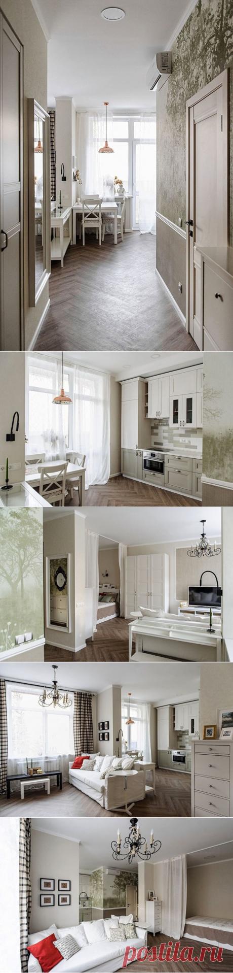Небольшая квартира на 40 м² с обворожительным интерьером, в котором чувствуется тепло и домашний уют.   DESIGNER   Яндекс Дзен