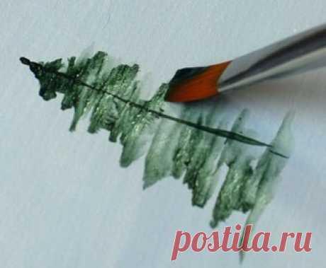 Учимся рисовать ёлки — Сделай сам, идеи для творчества - DIY Ideas