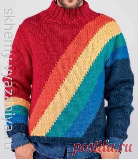 Схема вязания с описанием: радужный свитер для мужчины в технике интарсия