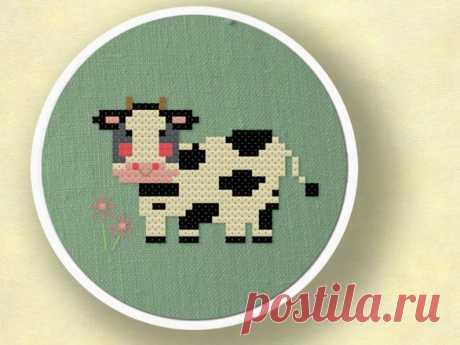 Moo Cross Stitch Pattern. Sweet Cow Amongst Flowers Modern   Etsy
