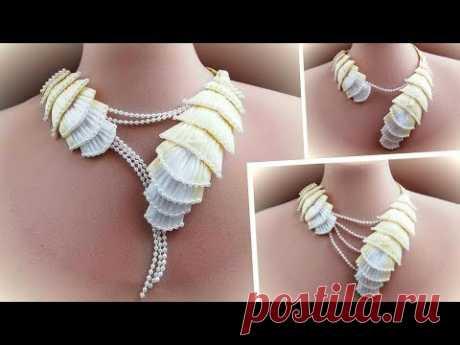 Украшение на шею из косой бейки своими руками / diy  necklace - YouTube