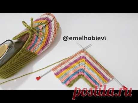 27 İLMEKLE İKİ ŞİŞ DİKİŞSİZ PATİK ÖRÜYORUZ / Very Easy Knitting Slippers
