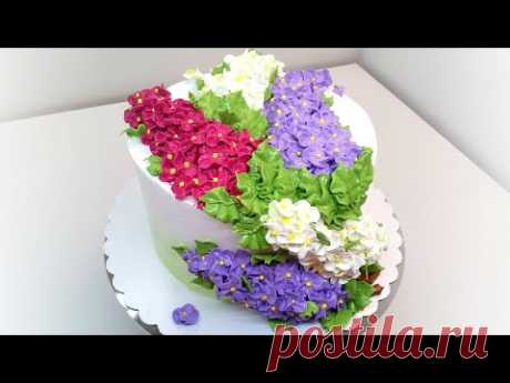 Торт с сиренью(крем БЗК). /Cake with lilac(protein custard).